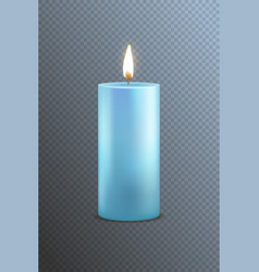 realistic detailed 3d blue candle on a transparent vector image