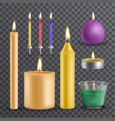 realistic flame and light burning candle set vector image