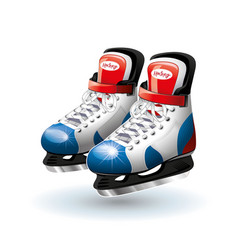 Realistic ice hockey skates isolated on white vector