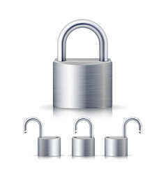 realistic open and closed silver padlocks set vector image
