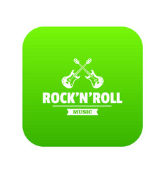 Rock n roll icon green vector