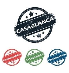 Round casablanca city stamp set vector