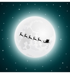 Santa Claus goes to sled reindeer in the vector