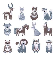 scandinavian animal cute kids animals flat baby vector image