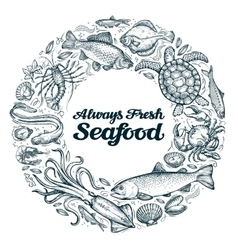 seafood restaurant menu or cafe design template vector image
