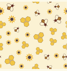 seamless pattern with bee honeycomb and flower vector image