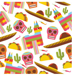 seamless pattern with pinata sombrero hat scull vector image