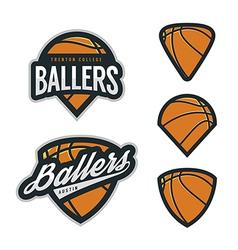 set basketball team emblem backgrounds vector image