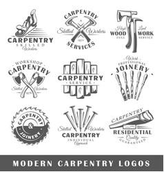 set modern carpentry labels vector image