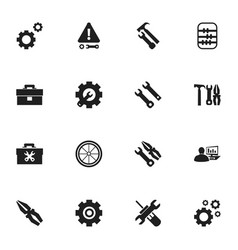 Set of 16 editable mechanic icons includes vector