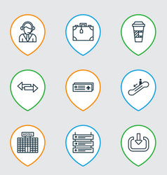 Set of 9 transportation icons includes crossroad vector