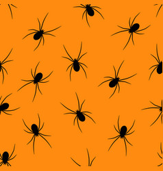set of black silhouettes spiders on orange backgro vector image
