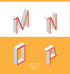 set of isometry letters m n o p font part vector image