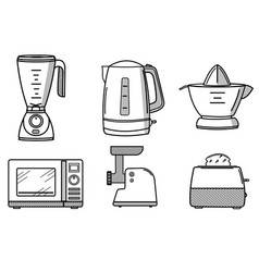 set of kitchen appliances in the style of line art vector image