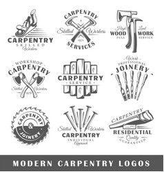 Set of modern carpentry labels vector