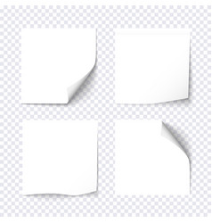 set of white sticky on transparent background vector image