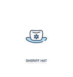 Sheriff hat concept 2 colored icon simple line vector