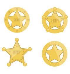 Sheriff star badges set vector