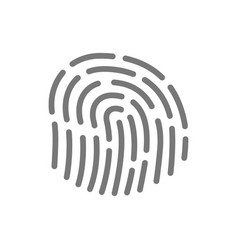 Simple fingerprint id app line icon symbol and vector