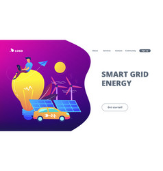 Smart grid energy landing page vector