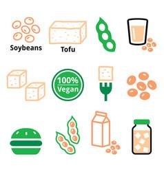 soy beans soya tofu icon set - healthy vector image