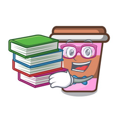 Student with book coffee cup mascot cartoon vector