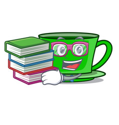 Student with book green tea mascot cartoon vector