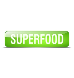 Superfood green square 3d realistic isolated web vector