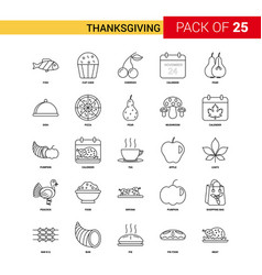 Thanksgiving black line icon - 25 business vector