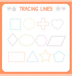 Trace line worksheet for kids working pages vector