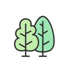trees forest flat color line icon vector image
