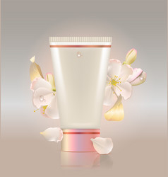 Tube for cosmetic and flowers apple tree vector