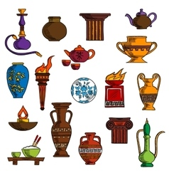 Various vases jugs containers and kitchenware vector image