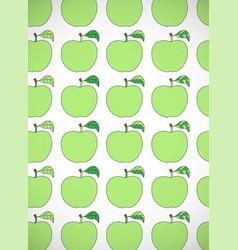 Vertical card with cartoon green apples vector