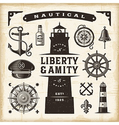 Vintage nautical set vector image