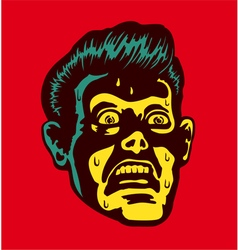 Vintage scared man with terrified face vector image vector image