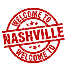 Welcome to nashville red stamp vector