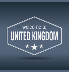 welcome to united kingdom hexagonal white vintage vector image