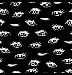 white female eyes seamless pattern vector image