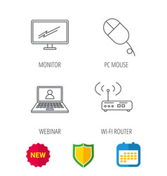 wi-fi router pc mouse and monitor tv icons vector image