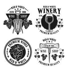 Wine shop set monochrome vintage emblems vector