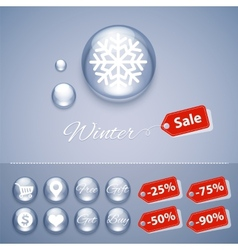 Winter Sale Glossy Buttons Templates vector