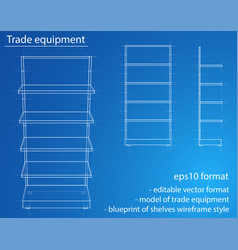 Wireframe retail shelves vector