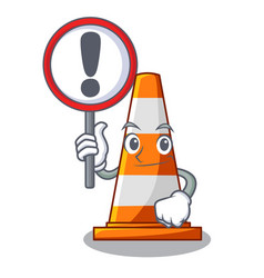 With sign traffic cone on road cartoon shape vector