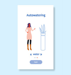 woman using auto watering application smart house vector image