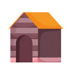 Wooden house for dog pets vector