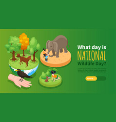 World wildlife day horizontal banner vector