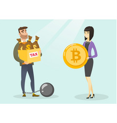 Young man choosing tax-free payment by bitcoins vector