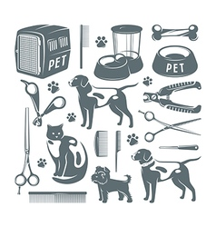 Icons set of pet care items vector image vector image