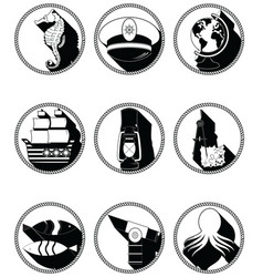 Nautical elements III icons in knotted in black vector image vector image